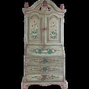 """Vintage Estate Miniature Secretary Bookcase """"PAINTED & FLOWERS"""""""