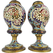 "Antique French Champlevé Urns Lamps "" VERY FINE COLORS"""