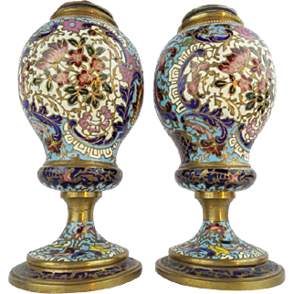 """Antique French Champlevé Urns Lamps """" VERY FINE COLORS"""""""