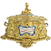 """Antique French Putti Bronze Double Handle Casket Hinged Box """"SEVRES  PLAQUES"""""""