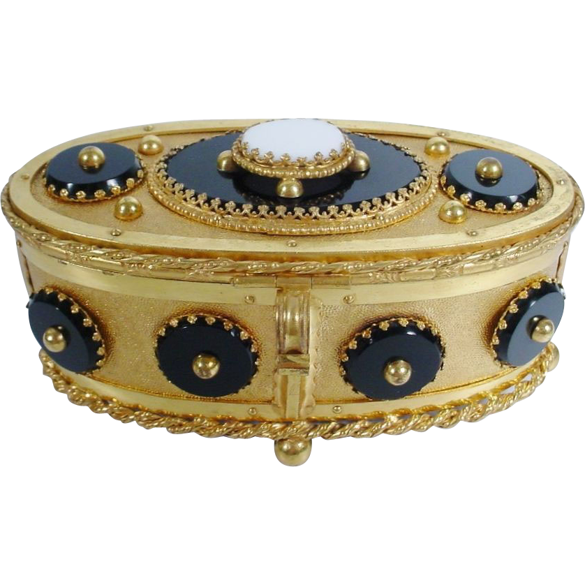 Magnificent Antique French MOREAU  Oval Gilt Bronze Box