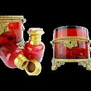 """Antique 19C French Ruby Double Handle Scent Casket  """"GRANDEST SHAPE"""""""