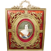 "Antique 10"" Hand Painted Portrait Miniature  ""Red Enamel Bronze Jeweled Frame"""