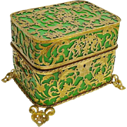 Antique Palais Royal Green Opaline Casket Hinged Box Covered in Gilt Ormolu & Double Handles