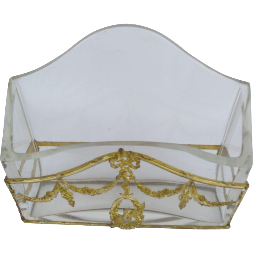"""Antique French Empire Crystal and Bronze Letter Holder """"SWAGS, BIRD & BOW"""""""