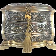 "Antique Bronze Miniature Chest  "" WINGED CHERUBS """
