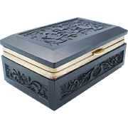 "Antique French Black Opaline Hinged Box ""STUNNING"""