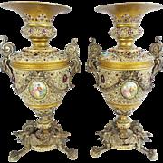 """13""""Antique Austrian Jeweled Bronze Urns """"Porcelain Pastoral Plaques""""  PAIR"""
