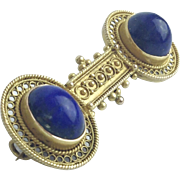 "Antique  14KARAT  Lapis Brooch  ""A BEAUTY"""