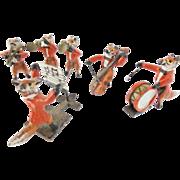 "Antique Austrian Miniature Bronze FOX  Band "" RED COATS"""