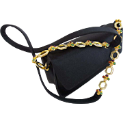 "Judith Lieber Black Silk Bag with Jeweled Strap ""Luscious Big Gems Shoulder Strap"""