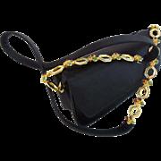 "LAYAWAY Judith Lieber Black Silk Bag with Jeweled Strap ""Luscious Big Gems Shoulder Strap"""