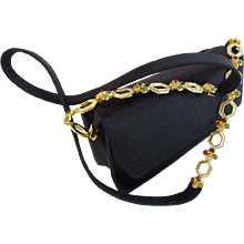 "LAYAWAY Judith Lieber Black Silk Bag with Jeweled Strap ""Luscious Big Gems Shoulder Strap"""