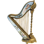 "LAYAWAY  Antique Austrian Vienna Miniature Enamel Bronze Harp ""WINGED CHERUBS"""