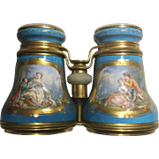 "LAYAWAY. BIG Antique Porcelain Severs Style Opera Glasses  ""Magnificent Pastoral  Scenes """