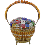 1920 Czech Glass Flower Basket Lamp 'RARE GLASS FLOWERS""