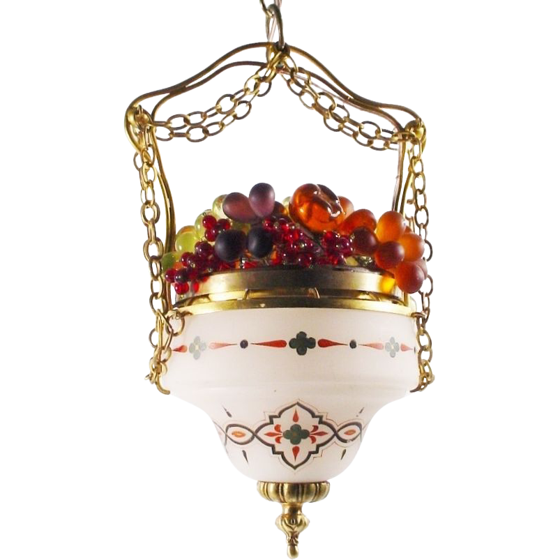 "RARE  Hanging Glass Fruit Czech Lamp "" Hand painted White Satin Glass """
