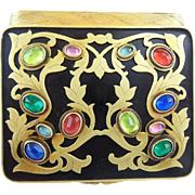 Antique French Jeweled Enamel Compact Hinged Box