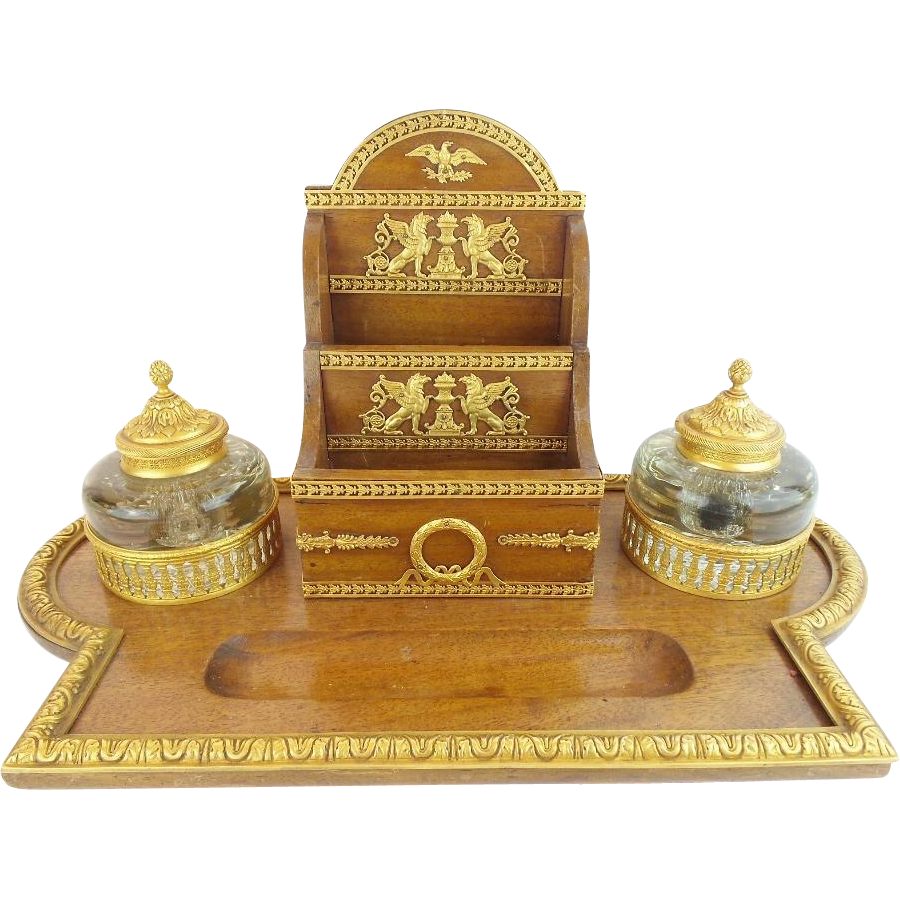 "Magnificent Antique French Empire Big Desk Set ""LETTERBOX, INK POT, QUIL CLEANER"""
