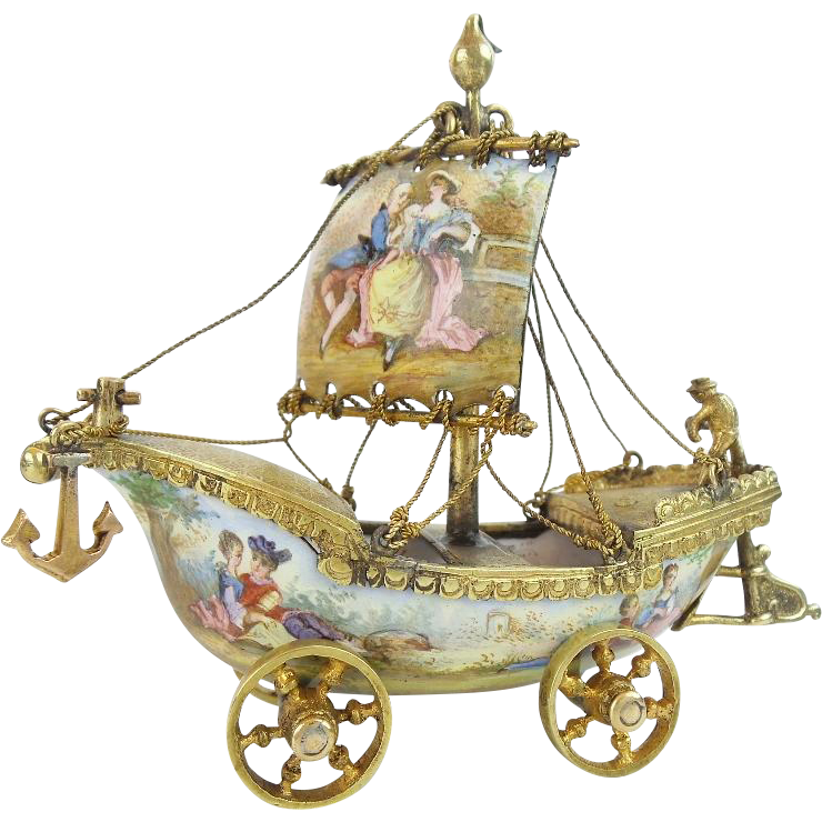 19C Austrian Viennese Enamel Miniature Ship 'EXQUISITE w/ ROLLING WHEELS""