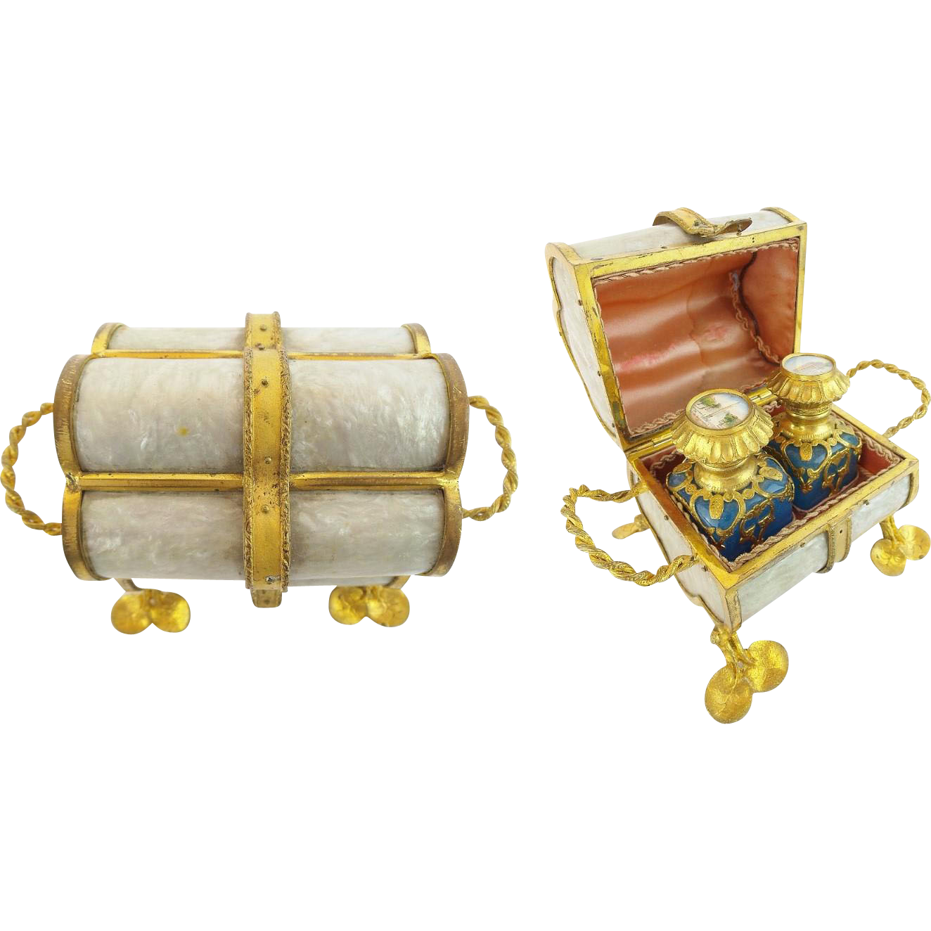 "Palais Royal 1880 Scent Caddy ""OPALINE BOTTLES  &  Lotus Feet"""
