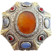 "Antique Austrian Silver Jeweled Hinged Footed Box  ""Moonstones, Garnets &  Cornelian"""