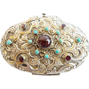 "Antique Austrian Silver Jeweled Hinged Box. Garnets ""Turquoise & Luscious Ornate Silver"""
