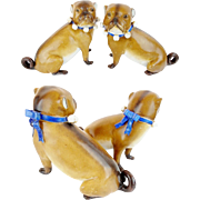 "Antique PAIR PUGS from Conte & Boehm  "" BLUE Collars """