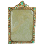 "LAYAWAY 16 ½"" Antique Austrian Jeweled Frame ""BIG & BEAUTIFUL"""
