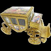 """7"""" Austrian Viennese Enamel  """"Putti  Pastoral"""" Miniature  Coach  ~ Nine Enamel Plaques"""