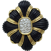 "Magnificent 14KARAT Diamond Black Onyx  Broach Pendant ""EXQUISITE & VERY FINE """