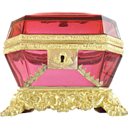 "Antique Baccarat Cranberry Bronze Casket Hinged Box. "" A MASTERPIECE"""