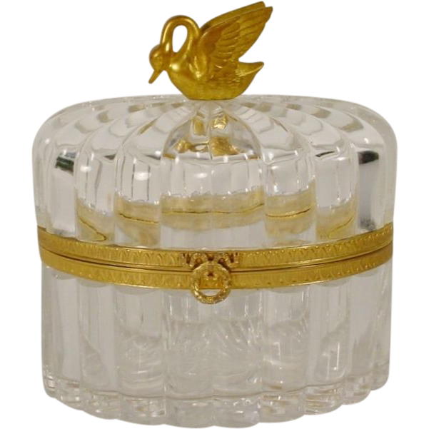 "Beautiful Antique French Crystal Casket Hinged Box ""Swan Finial"""