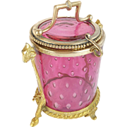 """Antique Cranberry Hinged Box """"Controlled Bubbles """" RAMS HEAD & HOOF FOOTED BASE"""""""