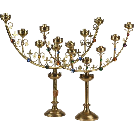 "TWO Antique French Jeweled Gilt Candelabra "" Gothic Revival Style"""