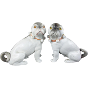 "Antique Porcelain Pugs ""R A R E  COLOR"""