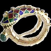 Vintage Enamel Snake Bracelet  w Emerald, Rubies, & Diamonds