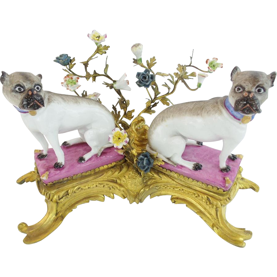 "Antique French Bronze Porcelain PUGS on Pink Pillows ""Porcelain Flowers  & Awesome Bronze"""