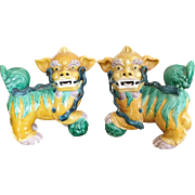 "Antique 12"" Chinese Foo Dogs"