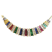 "20"" 14KARAT Yellow Gold Ruby, Emerald, Sapphire & Diamond Necklace  ""MAGNIFICENT FIT"""