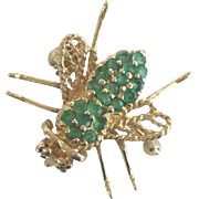 14K Emerald Bee Broach Pin