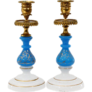 "Antique French Opaline Bronze Candlesticks "" Beautiful Blue & White Opaline w Bronze Mounts"""