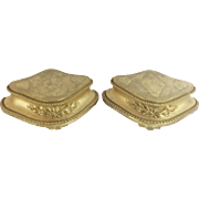 """Exquisite Antique French Gilt Footed Wood Plateau """" DELIGHTFUL PAIR"""""""