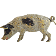 "Darling Antique Miniature Vienna Bronze Pig With A Pink Tongue  ""............195SO ADORABLE"""
