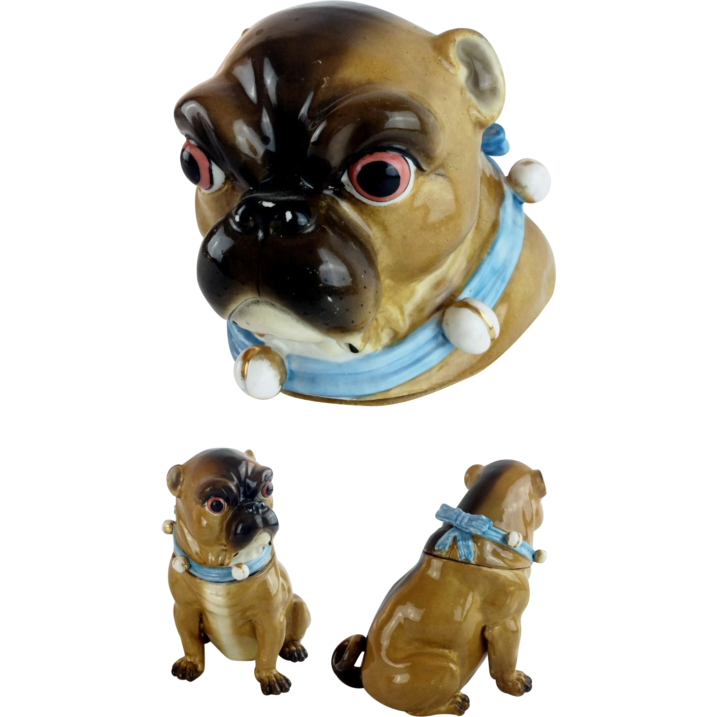 "Grandest Antique German Pug Jar ""BLUE COLLAR & BELLS"""