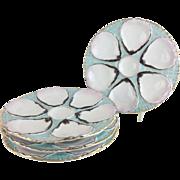 "FOUR 9"" Antique Austrian Oyster Plate…Aqua SeaFoam"