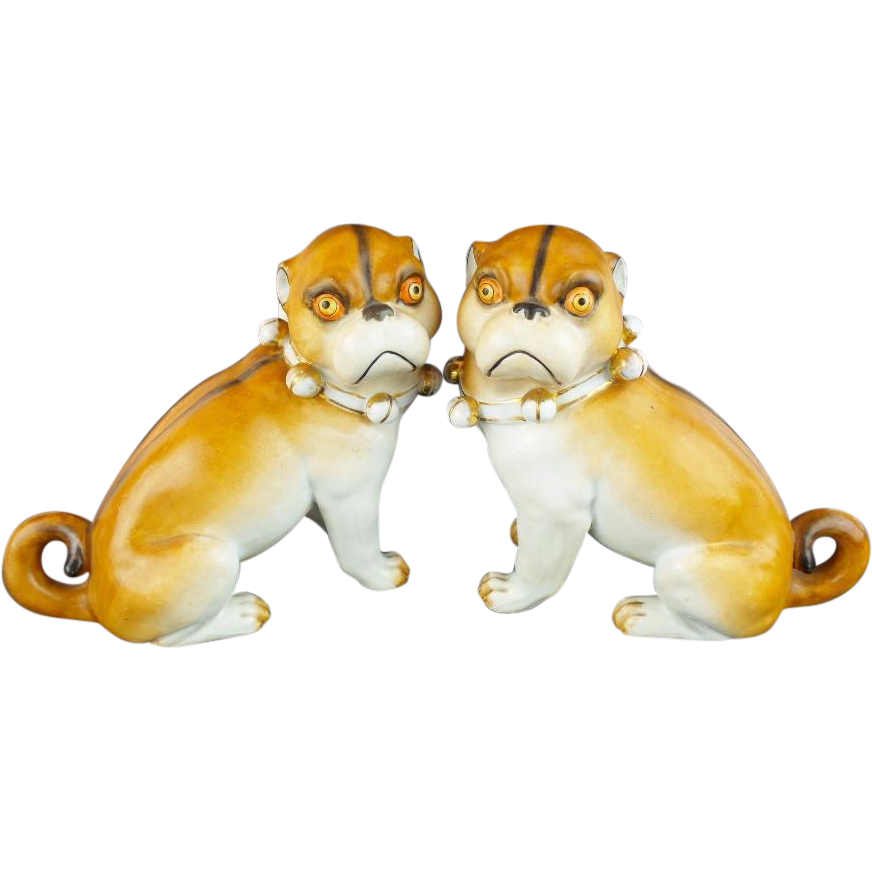 Antique  PUGS from Conte & Boehn  'RARE PAIR  w White Bows""