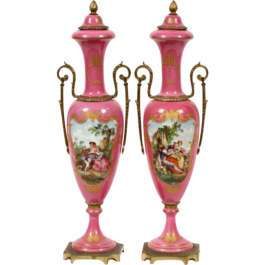 """Antique 17"""" French Hand painted Porcelain Double Handle Vases ' LUSCIOUS PINK """""""