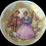 "Beautiful Antique Porcelain 2"" Door Knob with Pastoral Scene... Lovely Gilding on Seafoam Porcelain ."