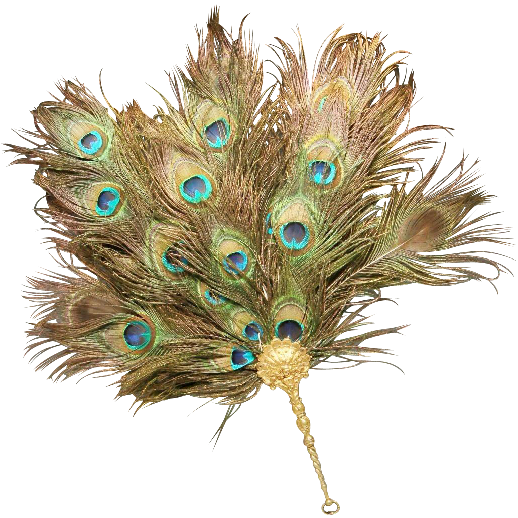 Grandest Antique French Peacock Gilt Bronze Fan.